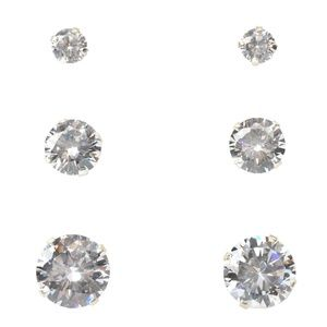 Clear Cubic Zirconia Studs Trio in Sterling Silver